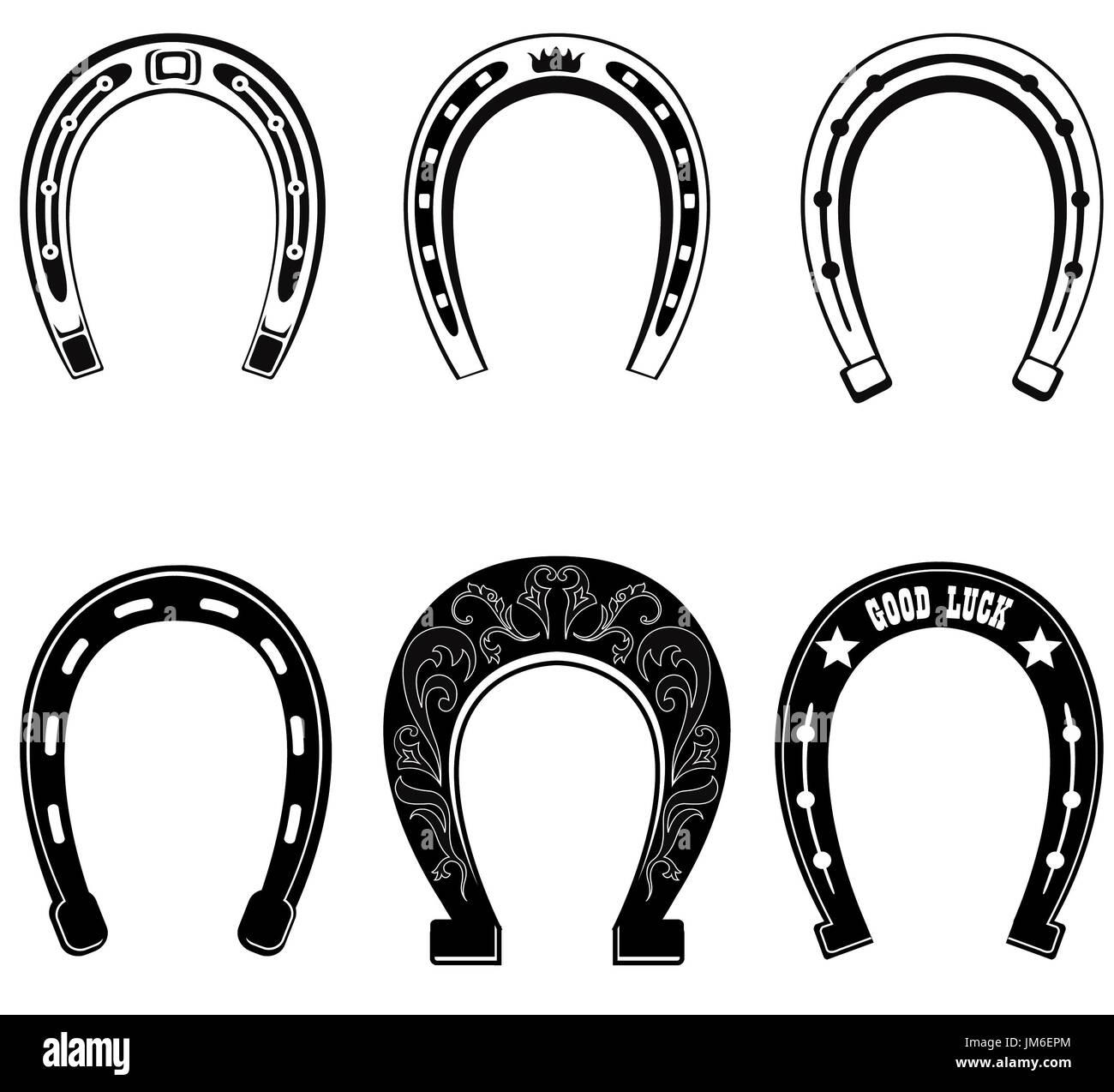 Horse shoe Set. Lucky steel horseshoes vector set isolated on white background. - Stock Image