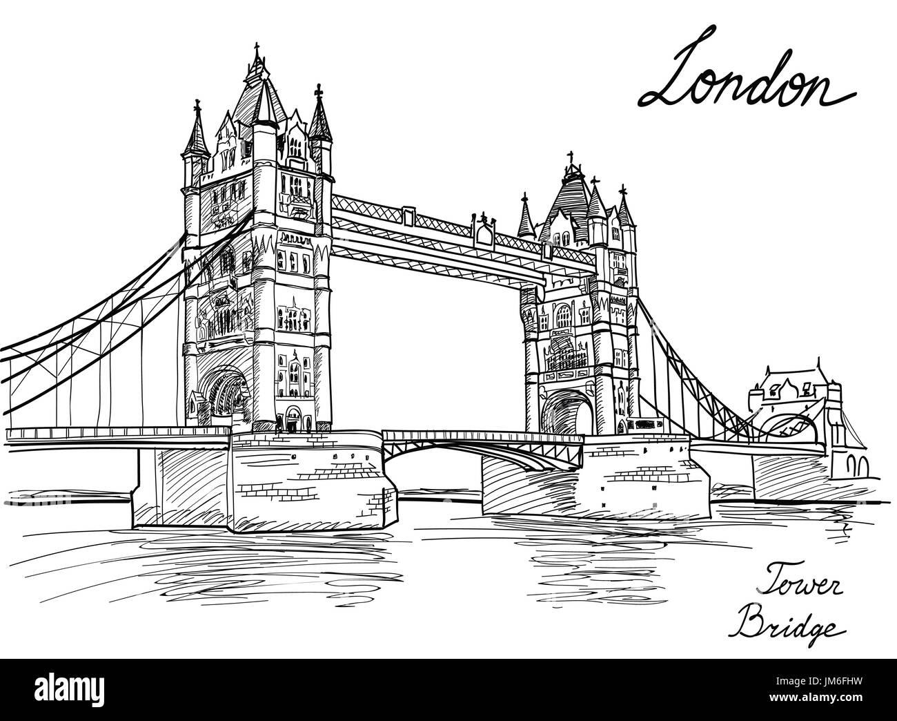 Tower Bridge, London, England, UK, Europe. Hand drawing old fashion illustration background with copy space. - Stock Image