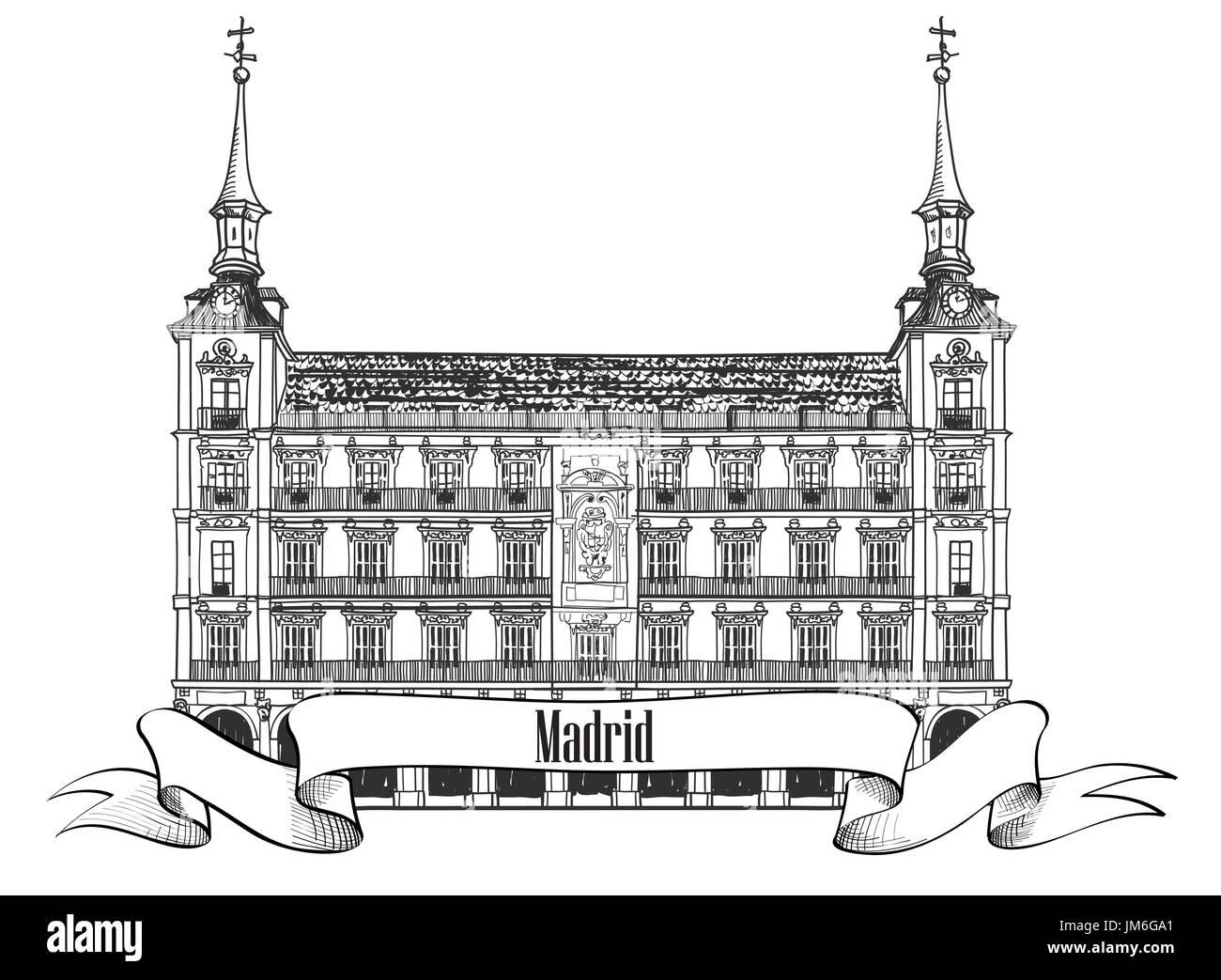 Madrid landmark label . Spain symbol. Madrid, house of Phillip III in Plaza Mayor, Sketch collection - Stock Image