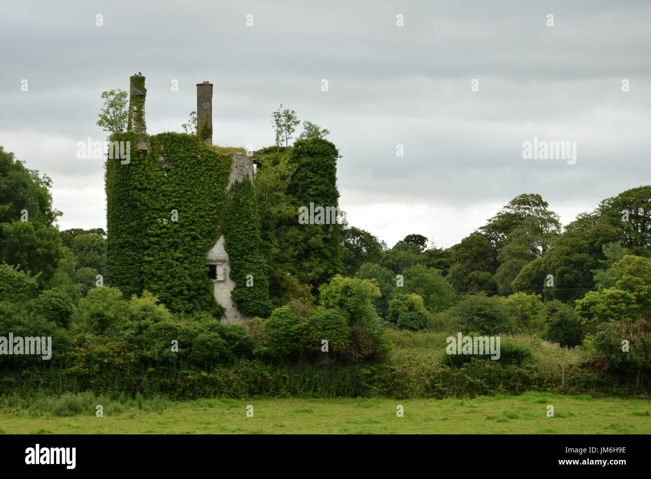 Hackett Castle near Knockma Hill in the County Galway, Ireland - Stock Image