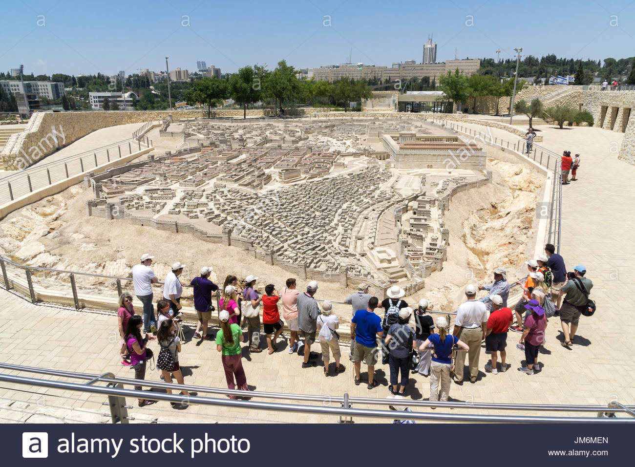 Tourists view the Second Temple Model at the Israel Museum in Jerusalem. Stock Photo