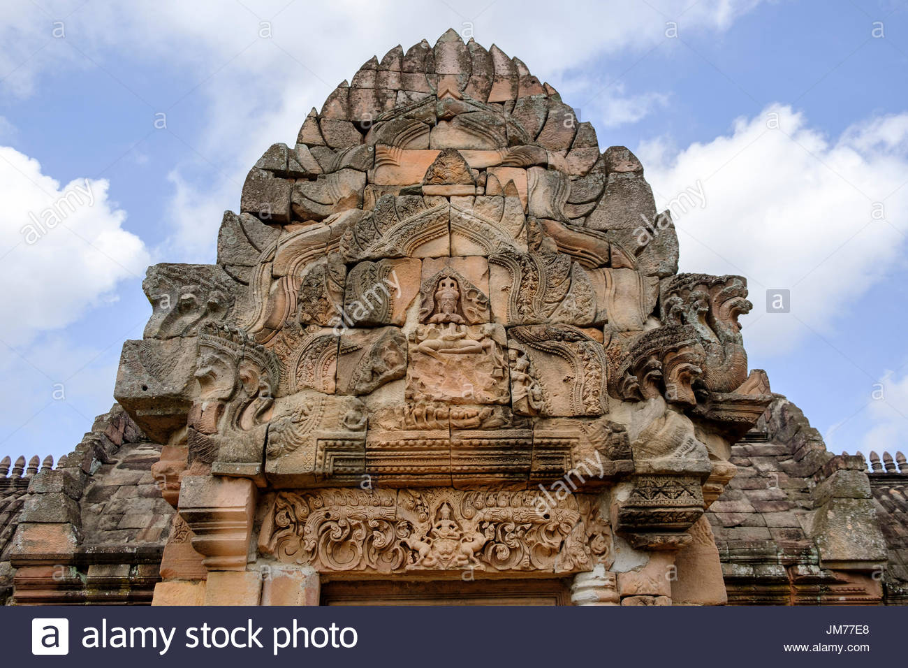 Khmer-style reliefs on lintel and pediment of the eastern archway, Phanom Rung Historical Park, Buriram Province, Thailand. - Stock Image