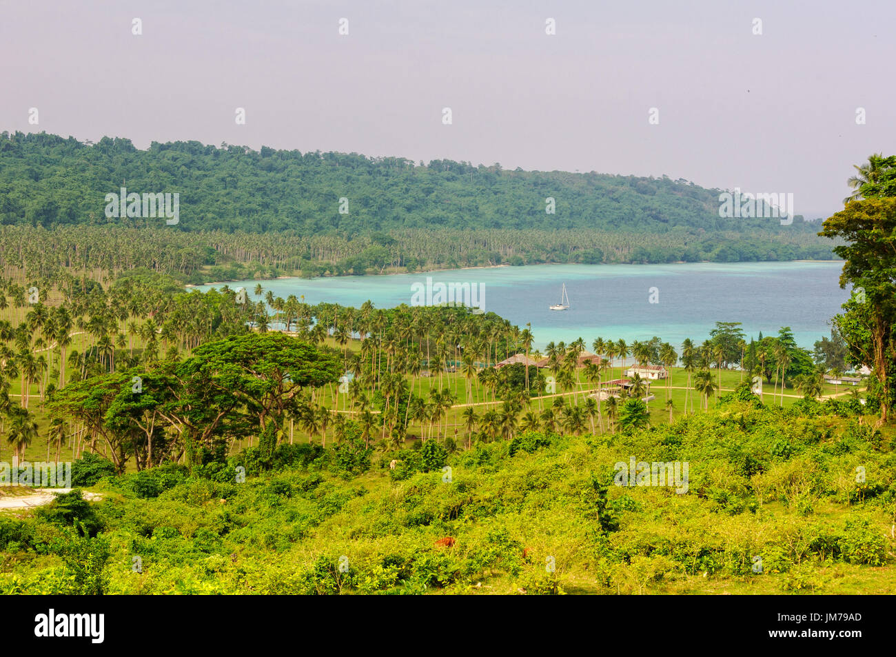 The sheltered Velit Bay is about a half-hour drive from Luganville on the east coast - Espiritu Santo, Vanuatu - Stock Image