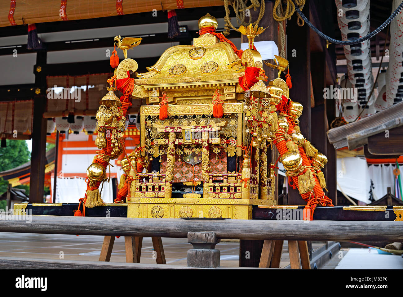 The mikoshi--a portable shrine--for Yasaka Jinja is on display as a part of the Gion Festival in Kyoto, Japan. - Stock Image