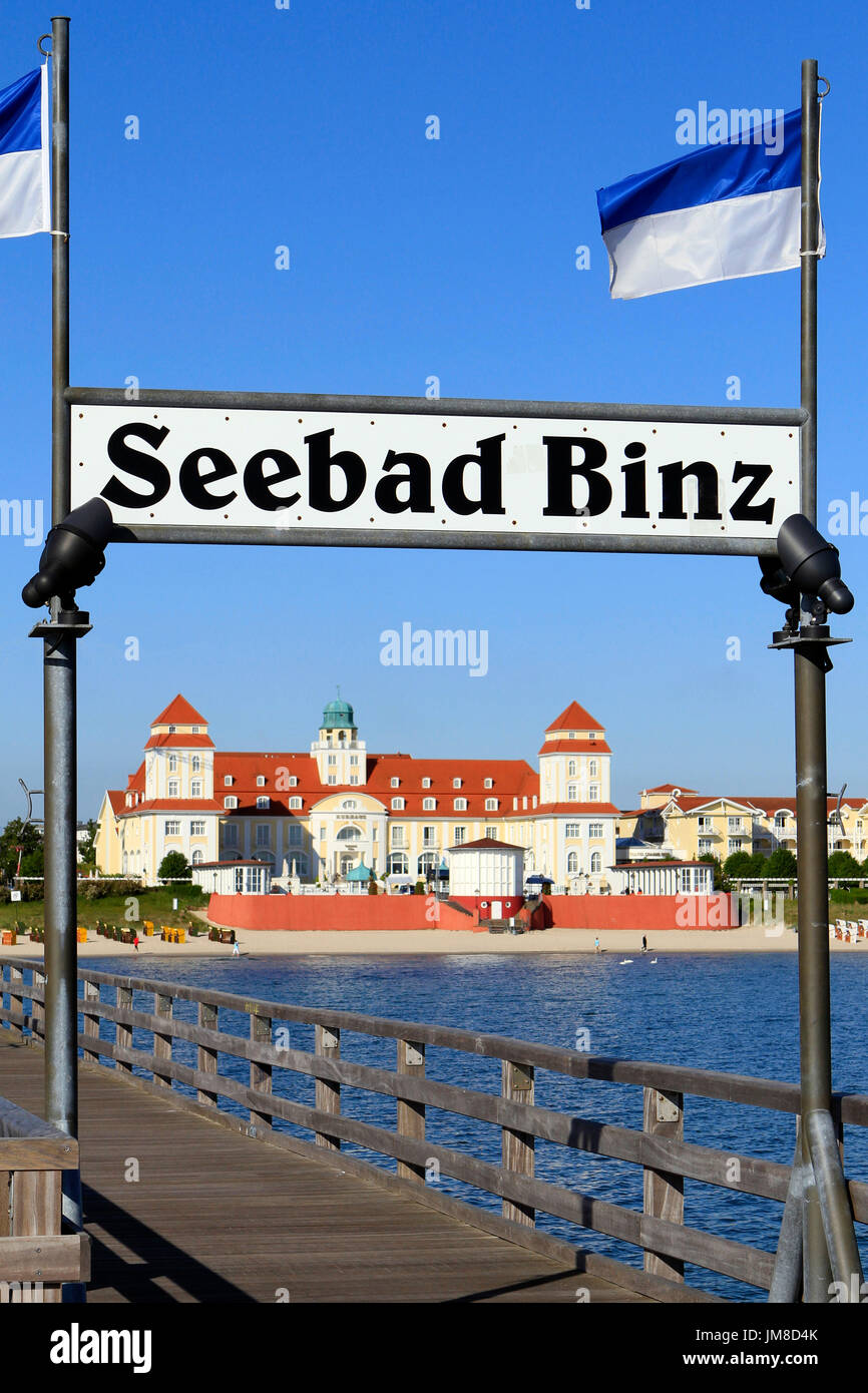 Pier and Baltic Seaside Resort in Binz at Ruegen Island, Mecklenburg-Western Pomerania, Germany, Europe Stock Photo
