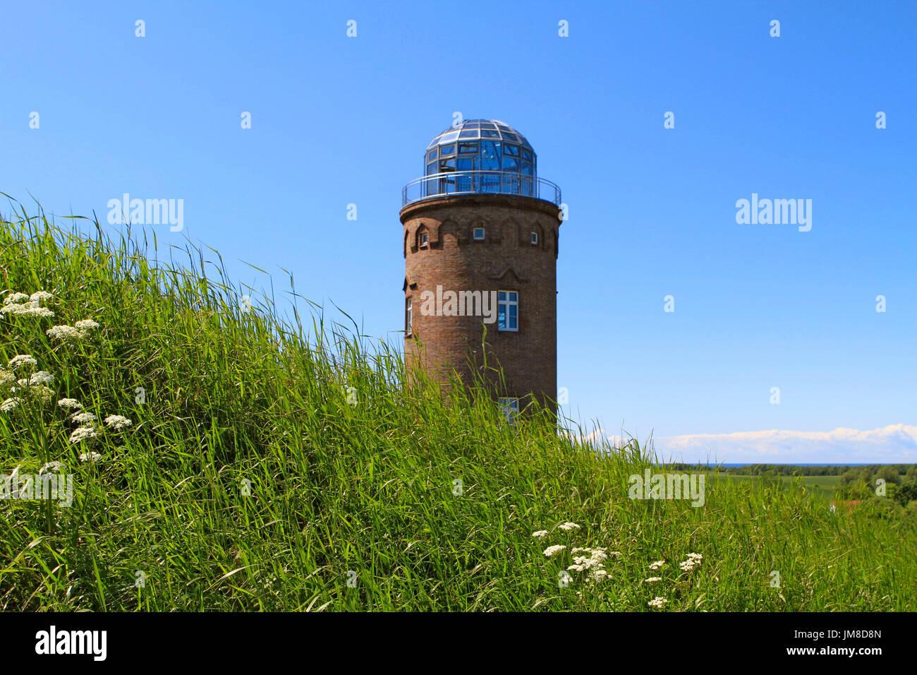 Peilturm Tower on the slavic fortress wall, exhibition building, Kap Arkona, Wittow Peninsula, Ruegen, Germany, Europe - Stock Image