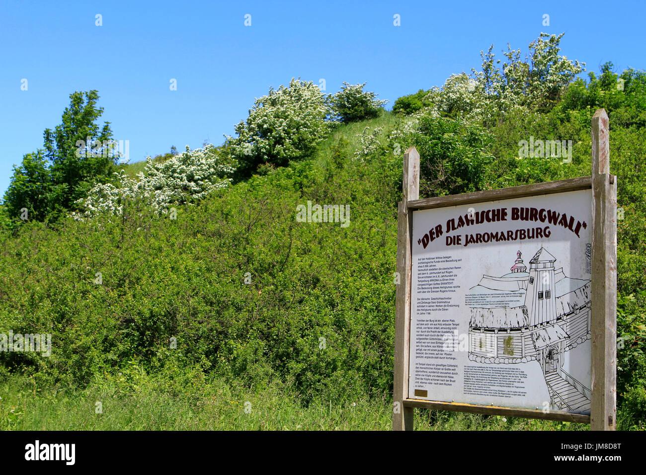 Sign at the slavic fortress wall, Kap Arkona, Wittow Peninsula, Ruegen, Germany, Europe Stock Photo