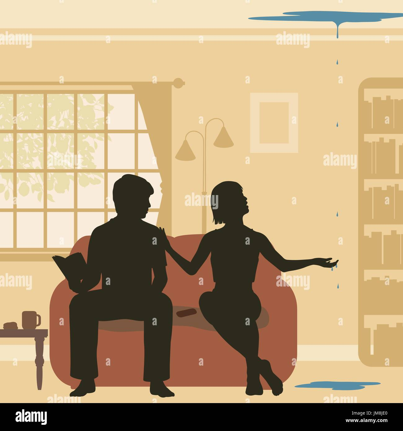 Editable vector cutout illustration of a couple at home discovering a leak through their ceiling - Stock Image