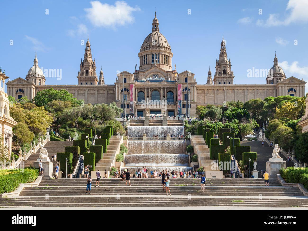 Barcelona Catalunya spain Barcelona city Palau Nacional National Art Museum of Catalonia Placa de les Cascades Water cascade Montjuic Barcelona Spain - Stock Image