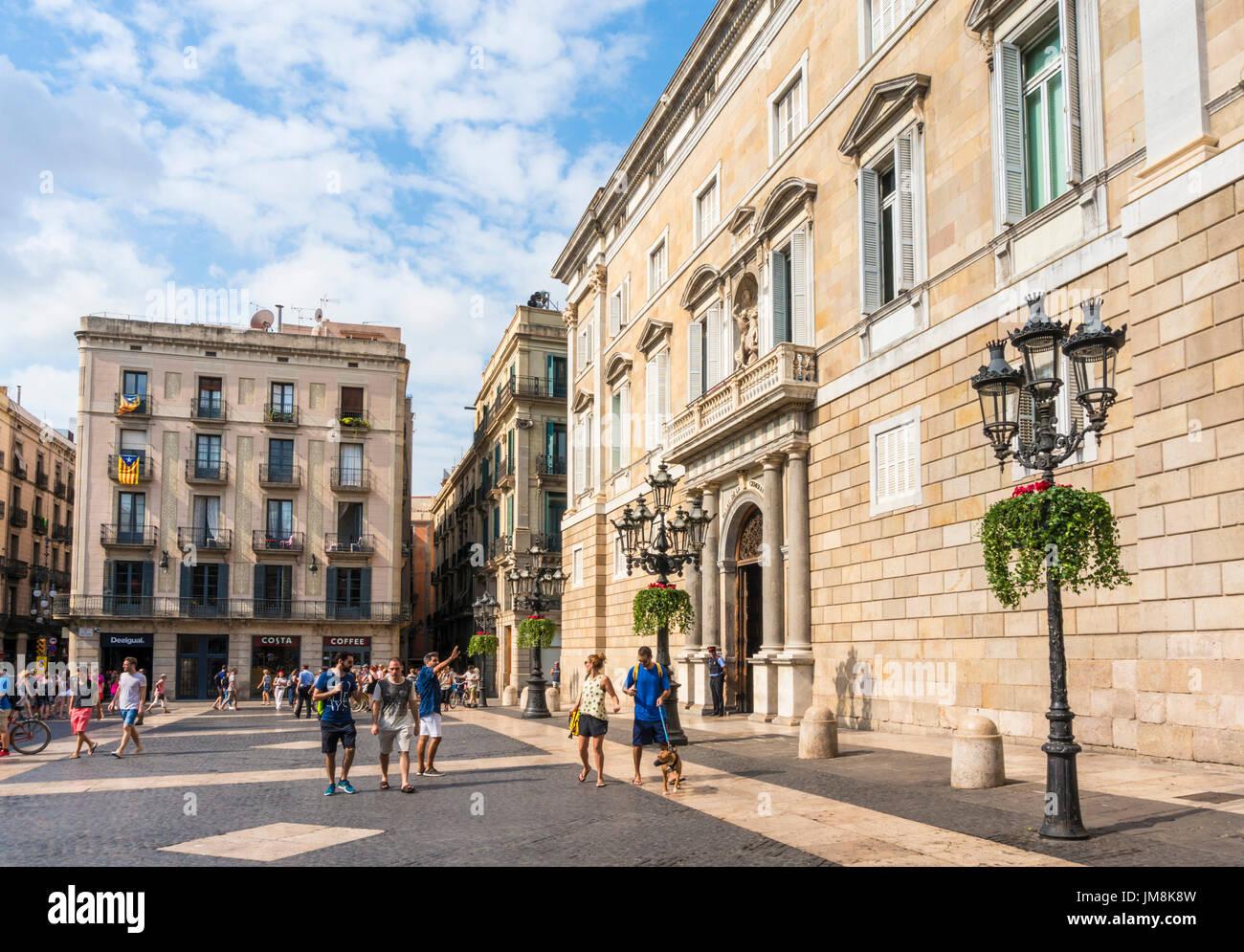 barcelona spain catalunya catalonia Palau de la Generalitat de Catalunya Plaça de Sant Jaume Placa de sant jaume Ciutat Vella Barcelona spain eu - Stock Image