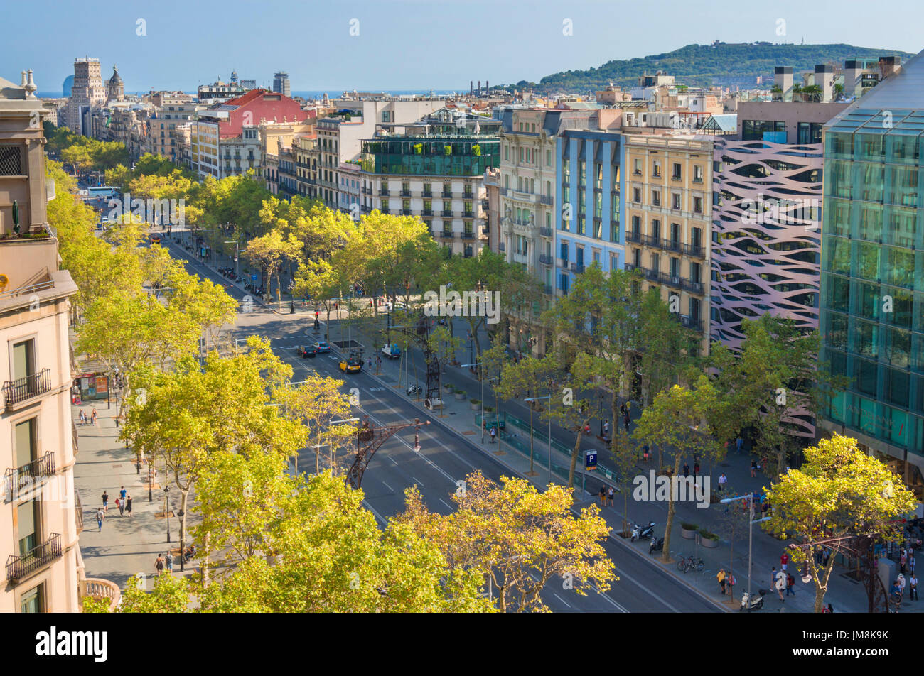 Barcelona Spain Catalunya Busy tree lined Passeig de Gracia avenue boulevard in the L'Eixample district of barcelona spain eu europe Catalonia - Stock Image