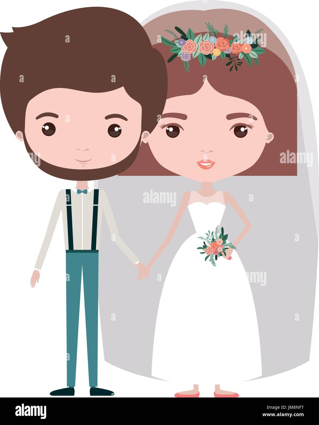 Colorful Caricature Newly Married Couple Groom With Formal Wear And