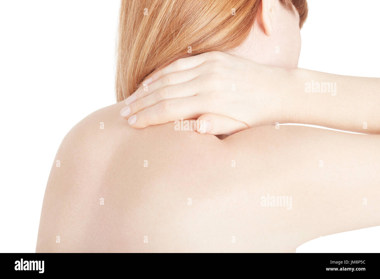 Woman with neck pain touching with hand the painful part isolated on white, clipping path - Stock Image