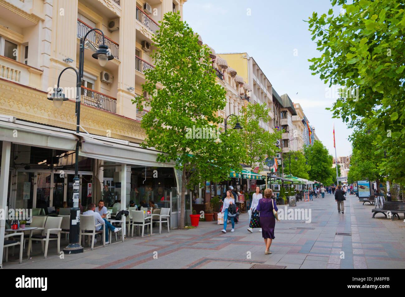 Makedonskaja, Macedonia street, main pedestrian street, Skopje, Macedonia - Stock Image