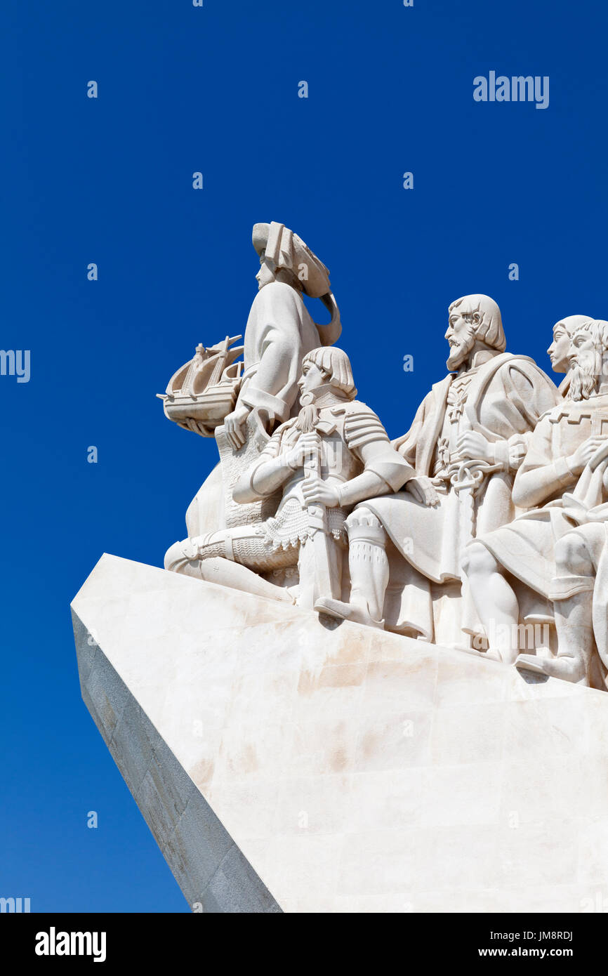 Prince Henry the Navigator leading the Monument to the Discoveries in Belem, Lisbon. Portugal. - Stock Image