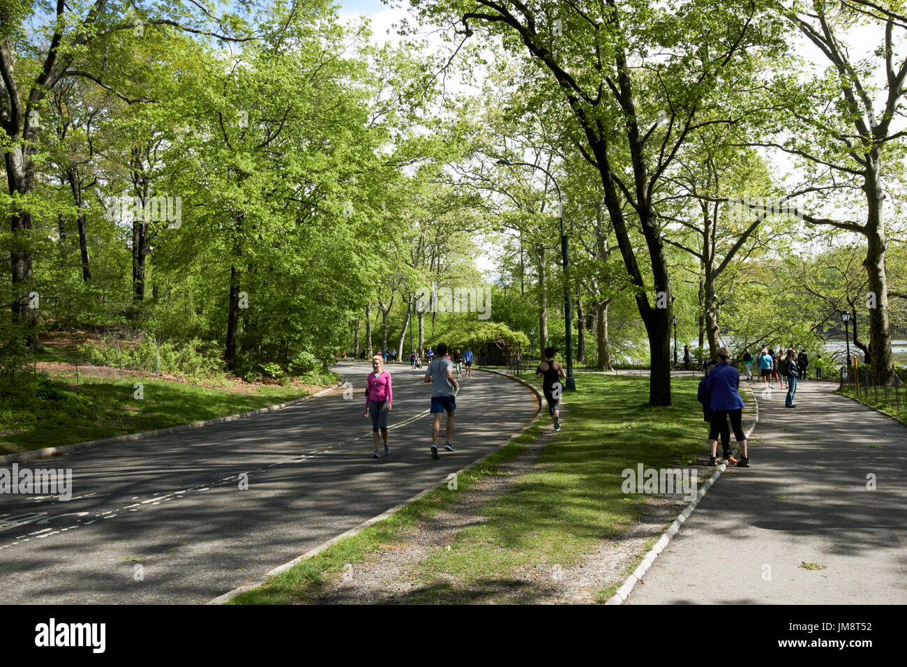 walking down to the lake central park New York City USA - Stock Image