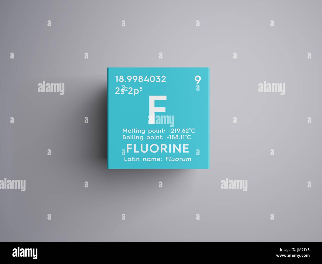 Fluorine halogens chemical element of mendeleevs periodic table fluorine halogens chemical element of mendeleevs periodic table fluorine in square cube creative concept urtaz Images