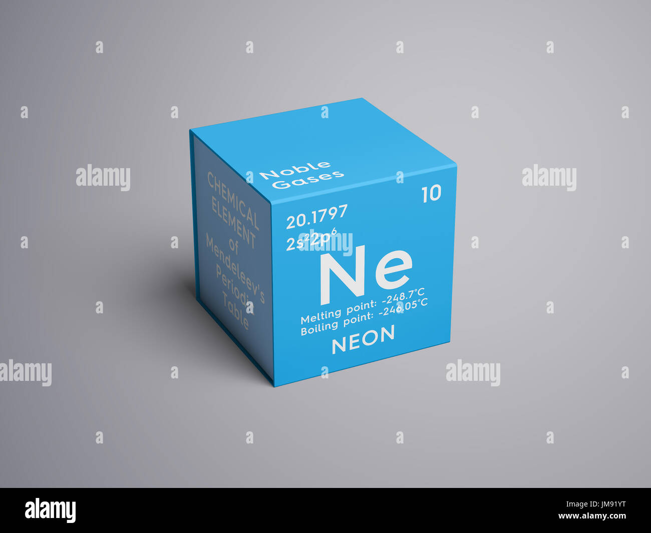 Neon noble gases chemical element of mendeleevs periodic table chemical element of mendeleevs periodic table neon in square cube creative concept urtaz Image collections
