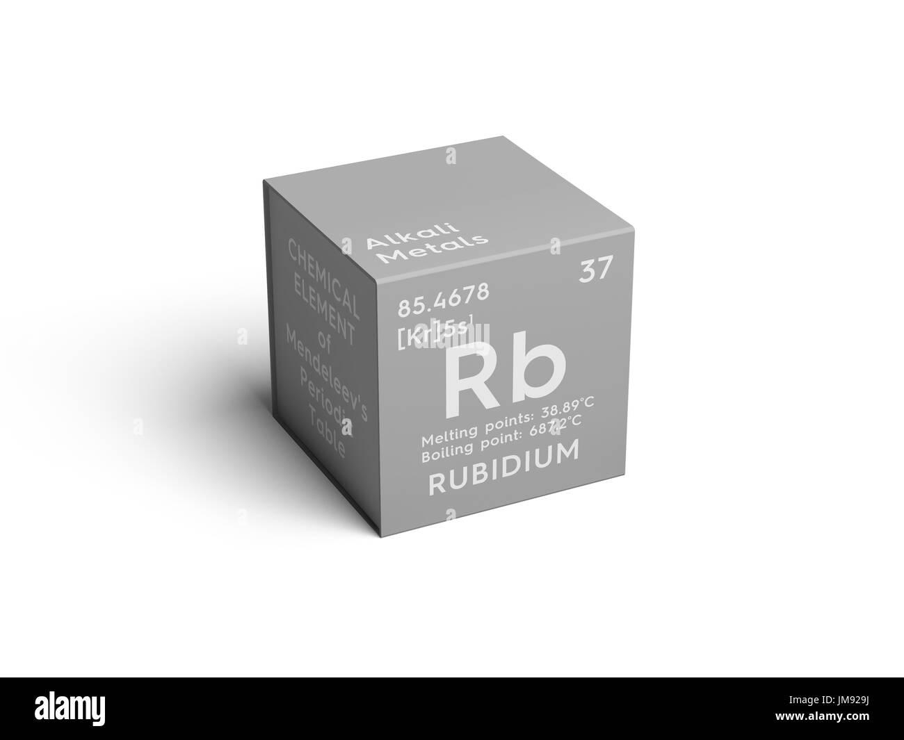 Rubidium alkali metals chemical element of mendeleevs periodic alkali metals chemical element of mendeleevs periodic table rubidium in square cube creative concept urtaz Choice Image