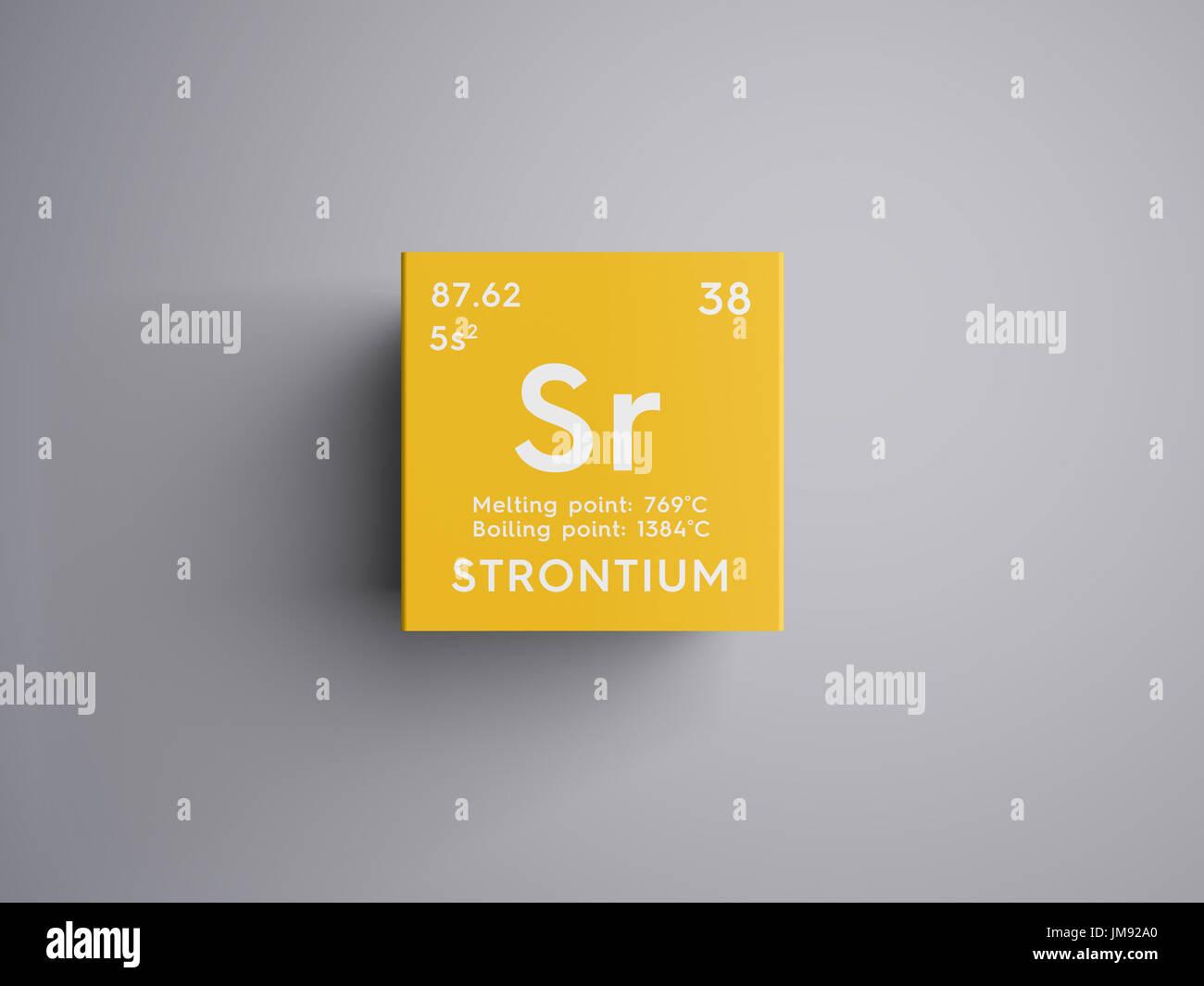 Strontium alkaline earth metals chemical element of mendeleevs alkaline earth metals chemical element of mendeleevs periodic table strontium in square cube creative concept urtaz Images