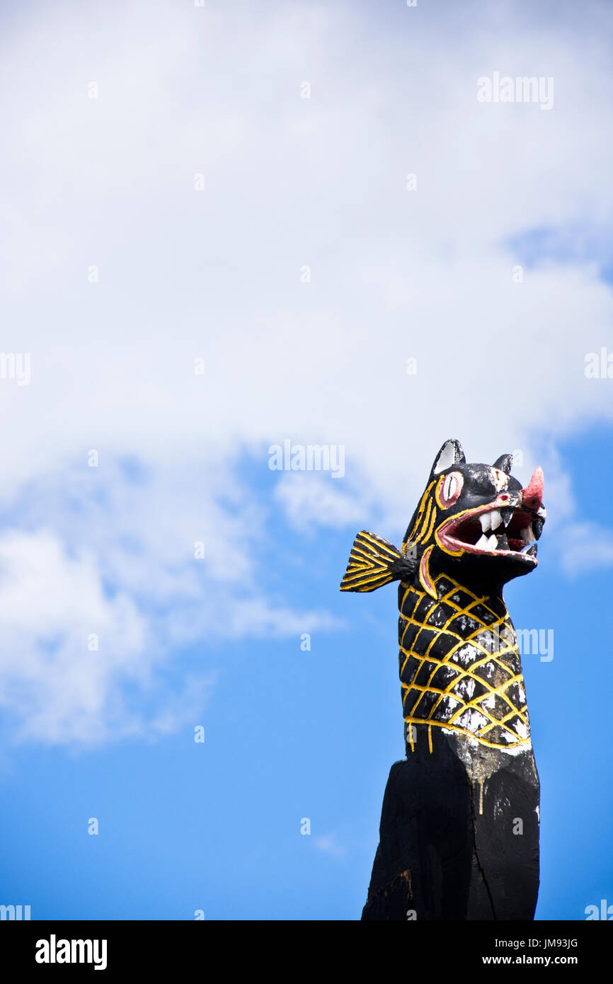 Carved and painted dragon shaped figure head replicated from a Viking long ship, Reykjavik, Iceland. Space for text. - Stock Image