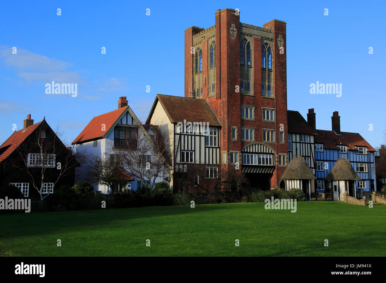Eccentric mock Tudor architecture of water tower and houses