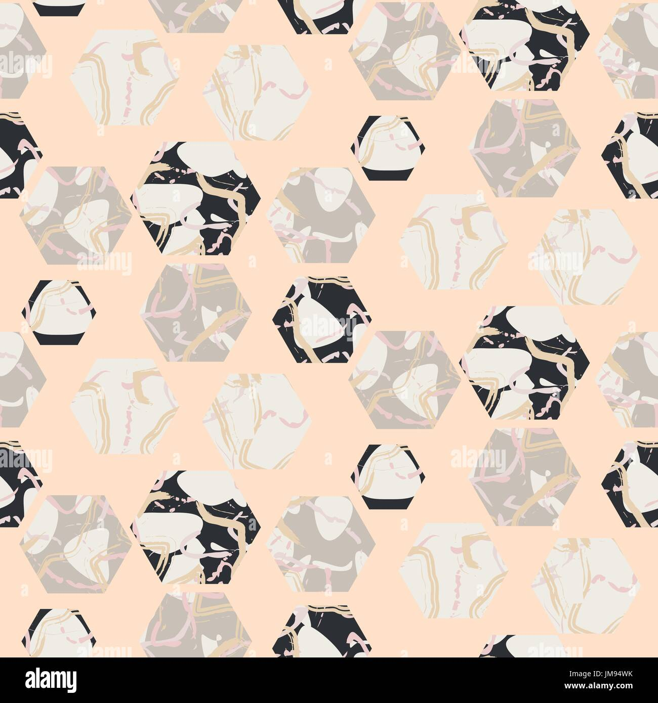 Marble stone hexagons seamless pale pink vector texture. - Stock Image