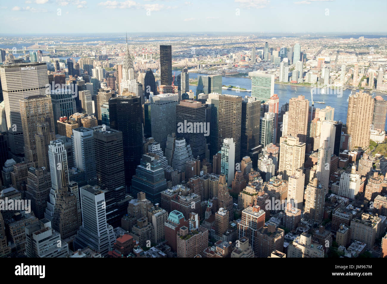 aerial view of New York City murray hill and turtle bay districts USA - Stock Image