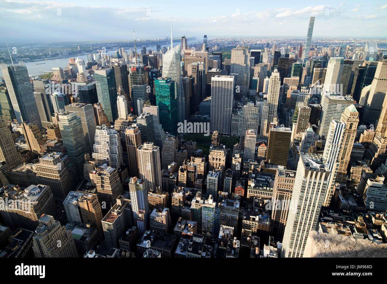 aerial view of midtown north central manhattan viewed from empire state building observatory New York City USA Stock Photo