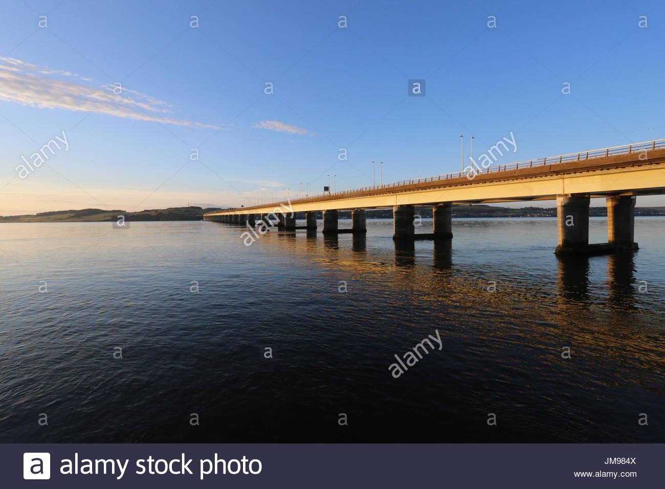 Tay Road Bridge at dawn Dundee Scotland  July 2017 - Stock Image