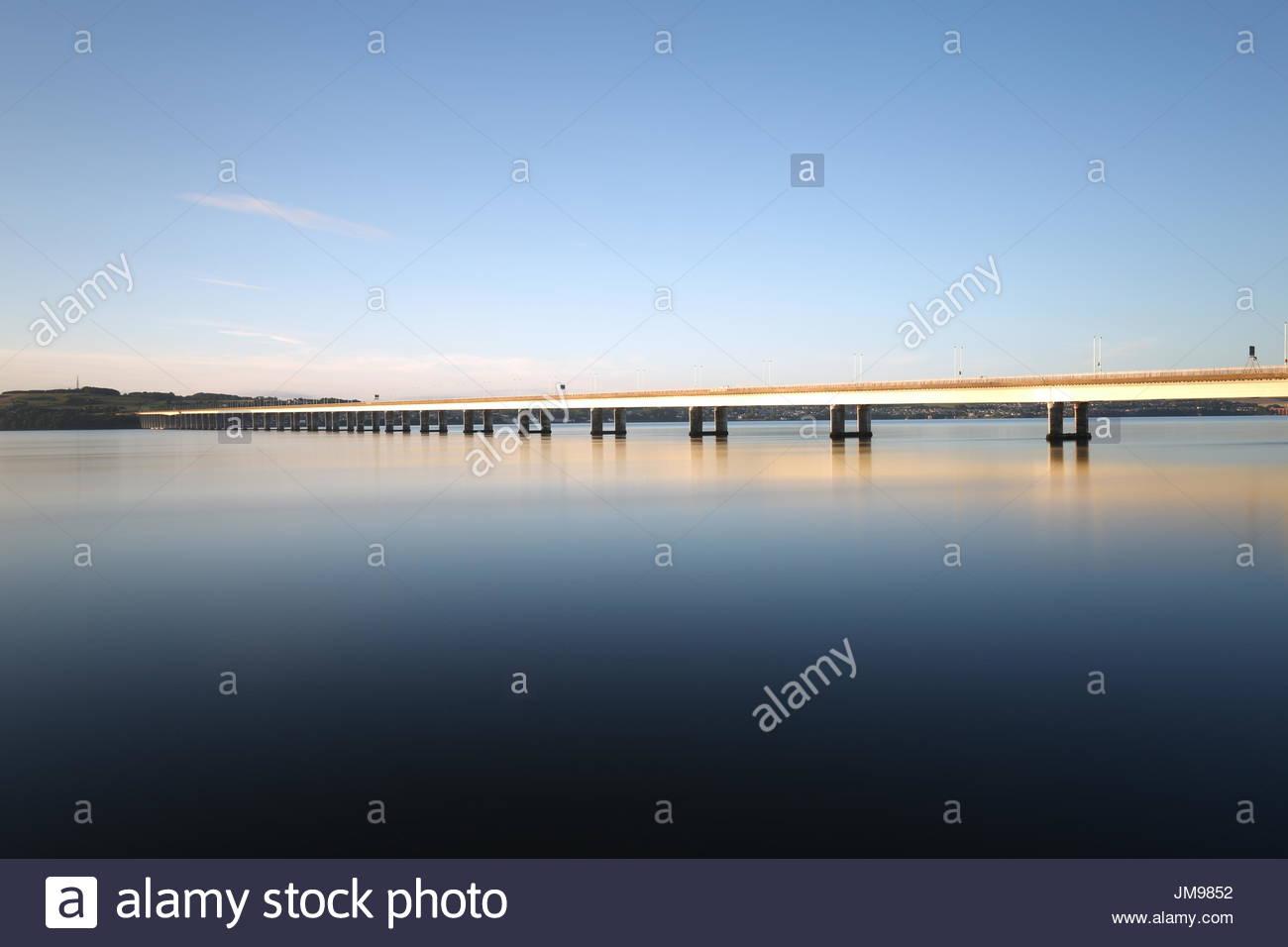 Long Exposure of Tay Road Bridge at dawn Dundee Scotland  July 2017 - Stock Image