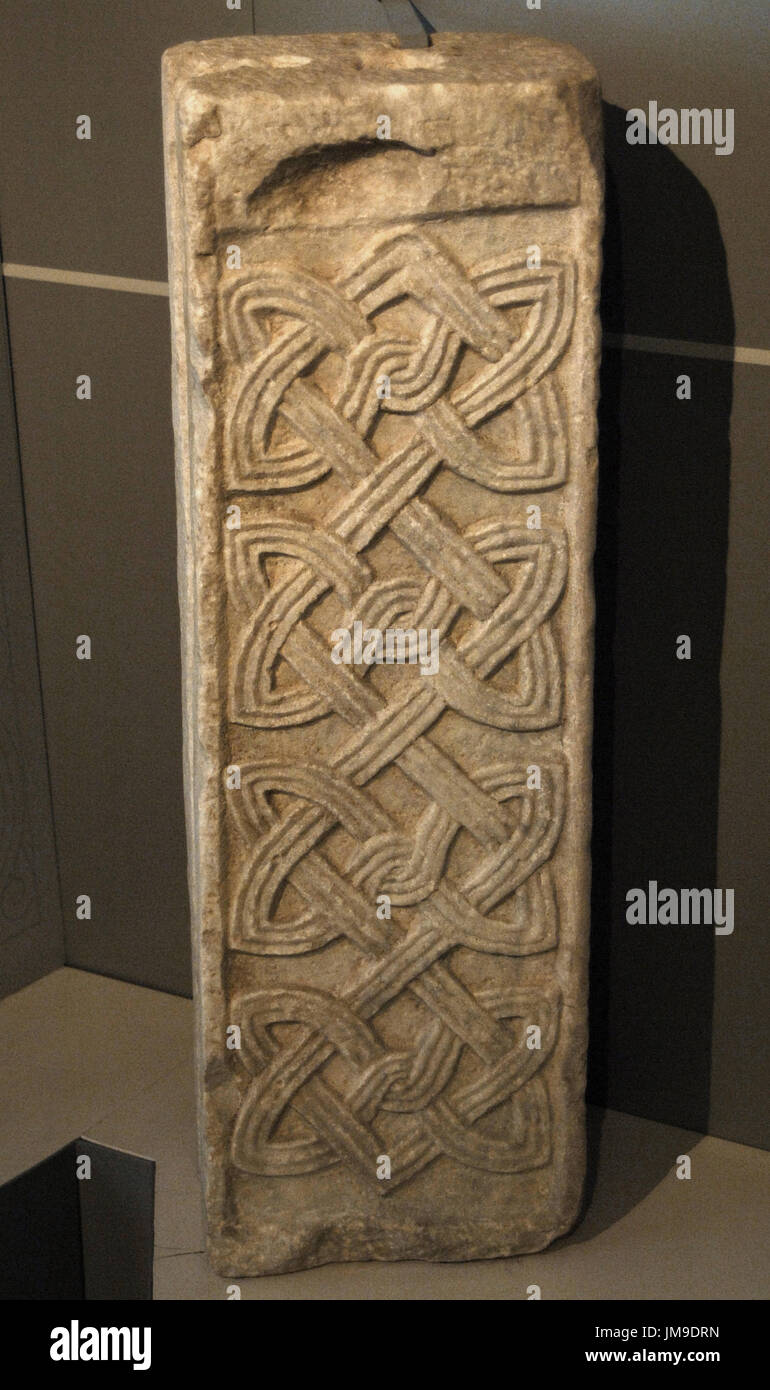 Middle Ages. Small pilaster decorated on all sides with geometrical motif. First quarter of the 9th century. Crypta Balbi. National Roman Museum. Rome, Italy - Stock Image