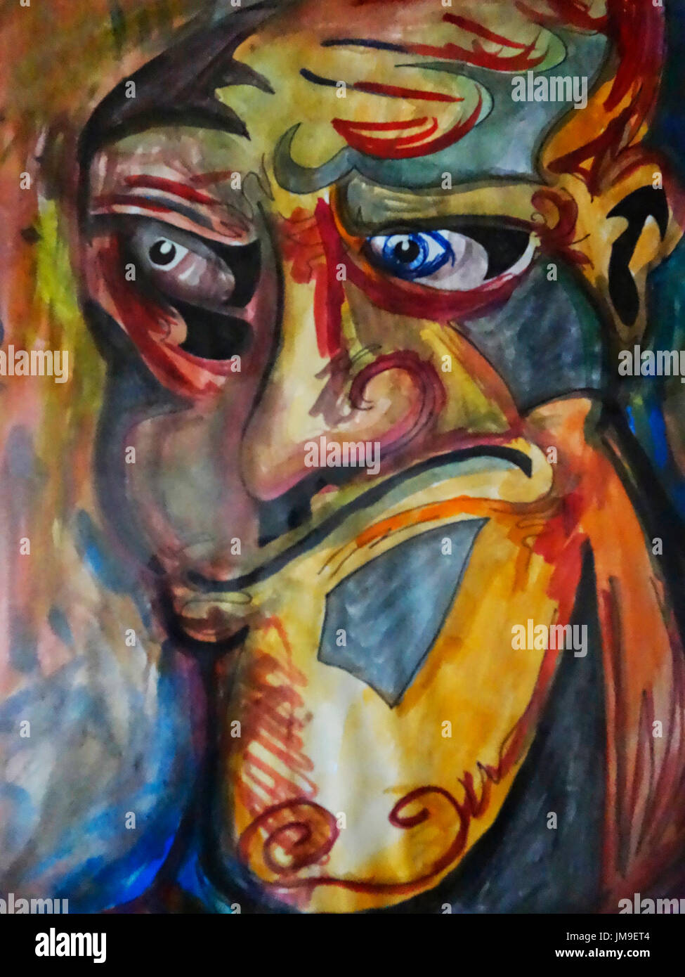 A Colourful Abstract Face Painting Stock Photo 150185284