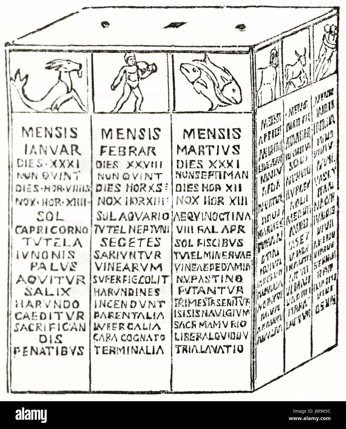 Roman Calendar.Old Illustration Of A Roman Calendar By Unidentified Author Stock
