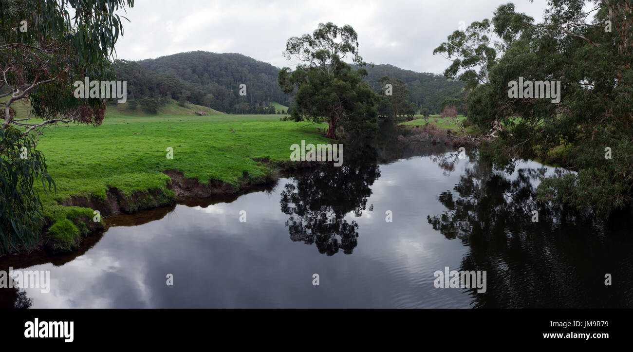Panoramic image of the Aire River,  Great Ocean Road, Victoria, Australia - Stock Image