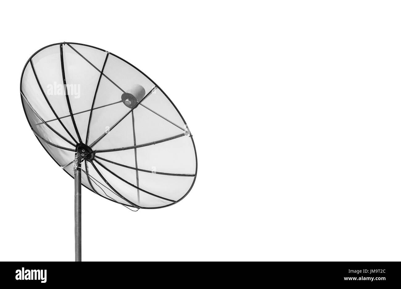 Big Black Satellite Dish isolated on White background with copy space - Stock Image