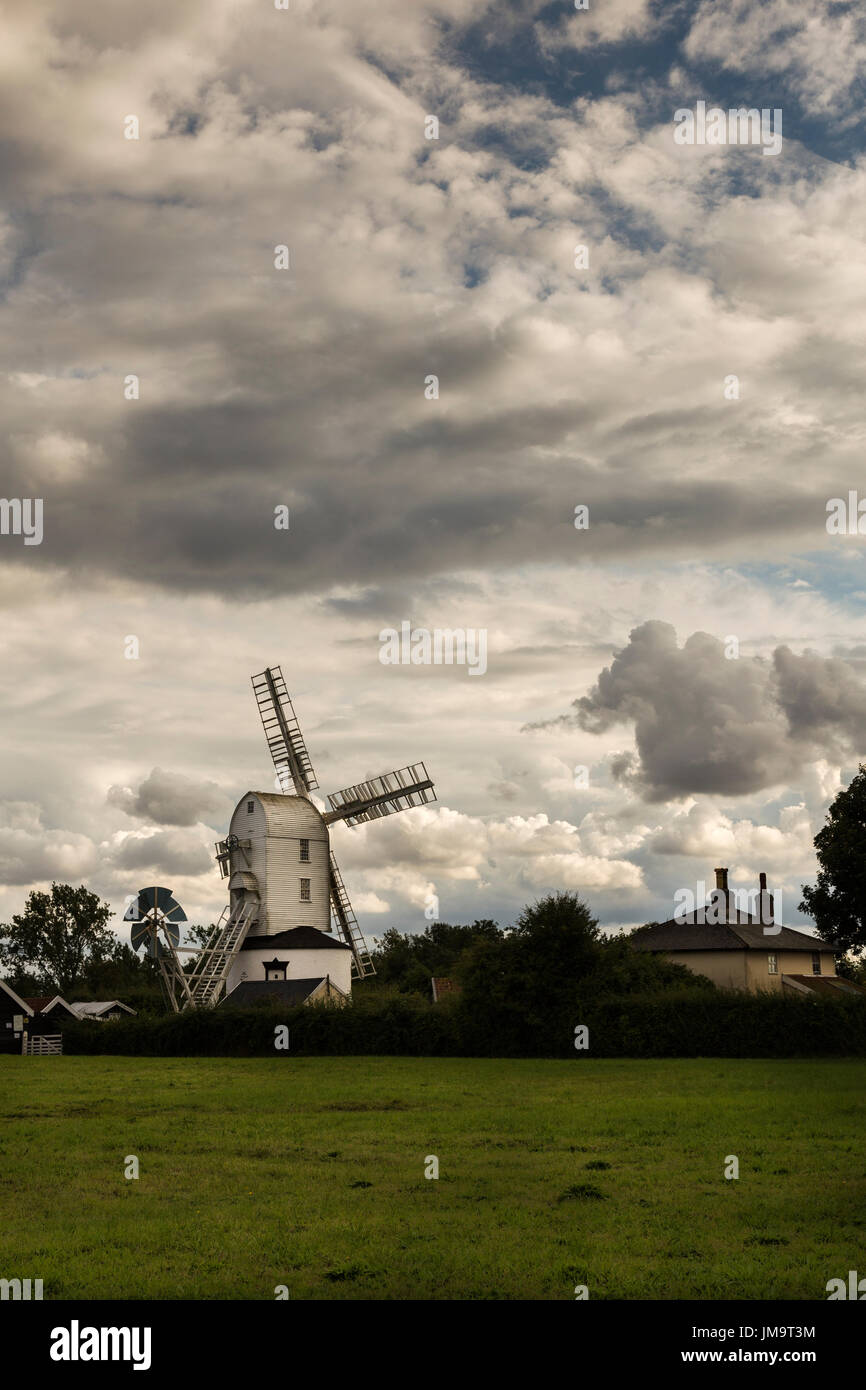 Saxtead Green Post Mill, a 13th Century Corn Mill restored to working condition by English Heritage - Stock Image