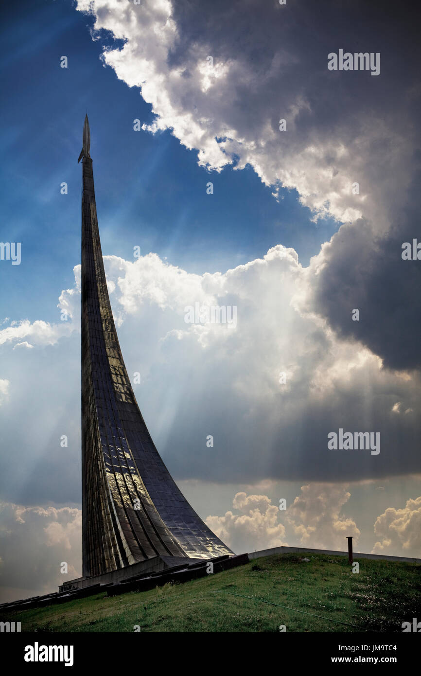 Monument to the Conquerors of Space. Moscow, Russian Federation. - Stock Image