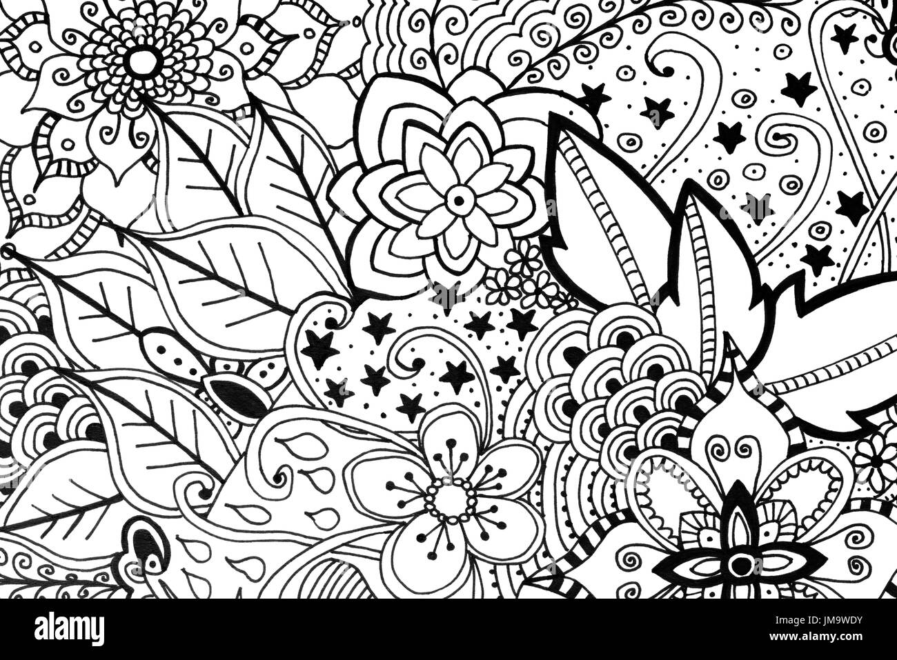 - Adult Colouring Book Hand Drawn Illustration, New Stress Relieving