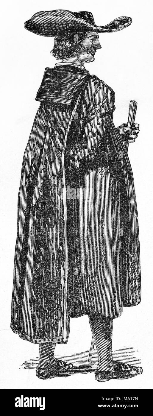 Old illustration of black wearing abbot in Naples, Italy. Created by Ferogio, published on Le Tour du Monde, Paris, 1861 - Stock Image