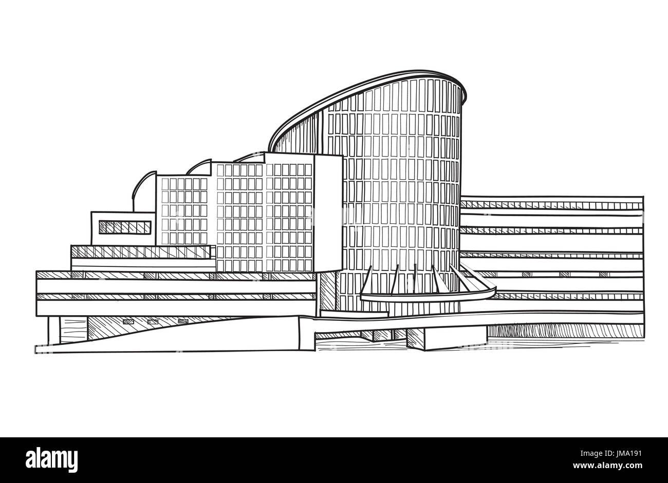 City building sketch isolated. Urban house facade blueprint. - Stock Image