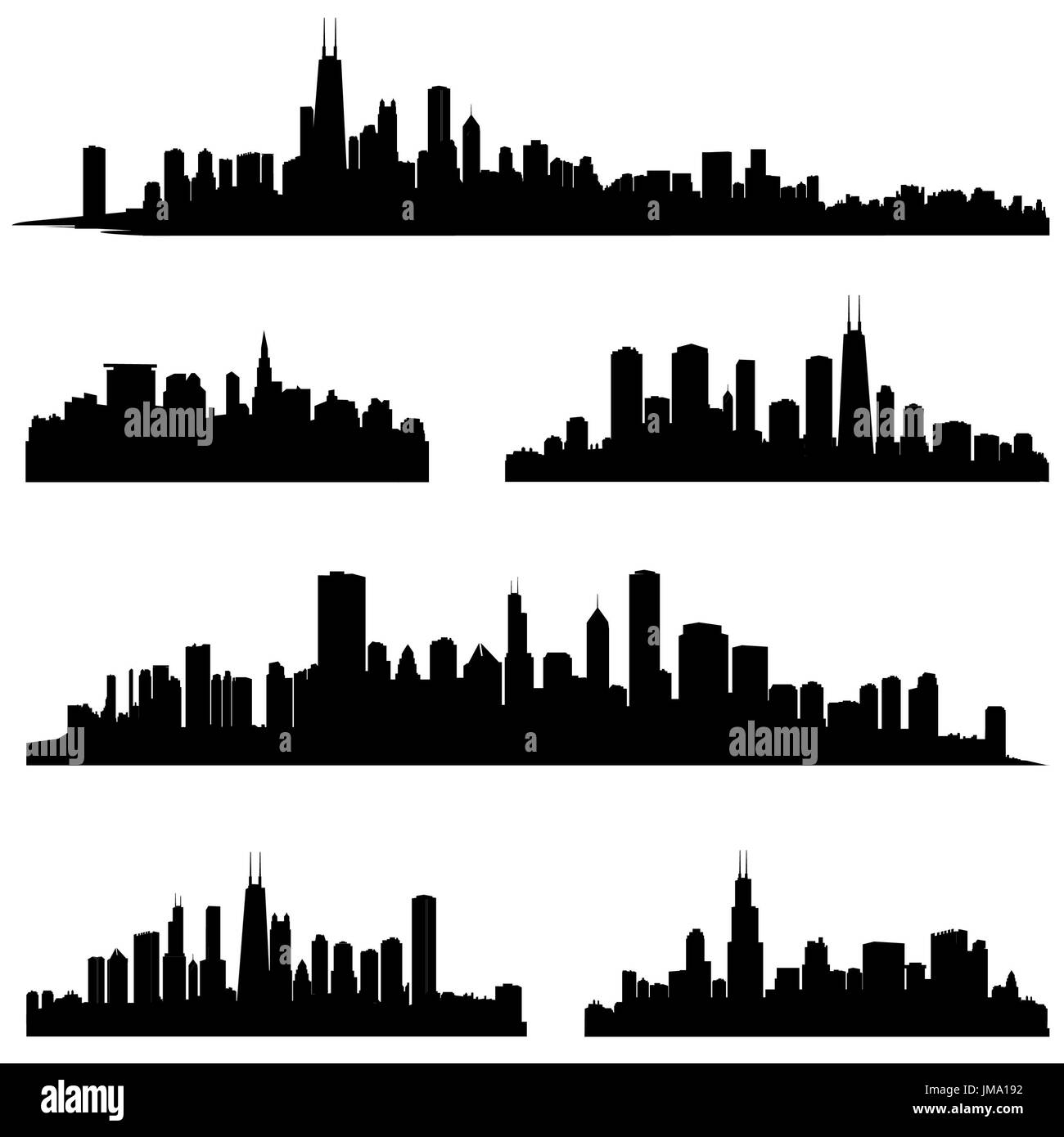 City silhouette vector set. Panorama city background. Skyline urban border collection. - Stock Image