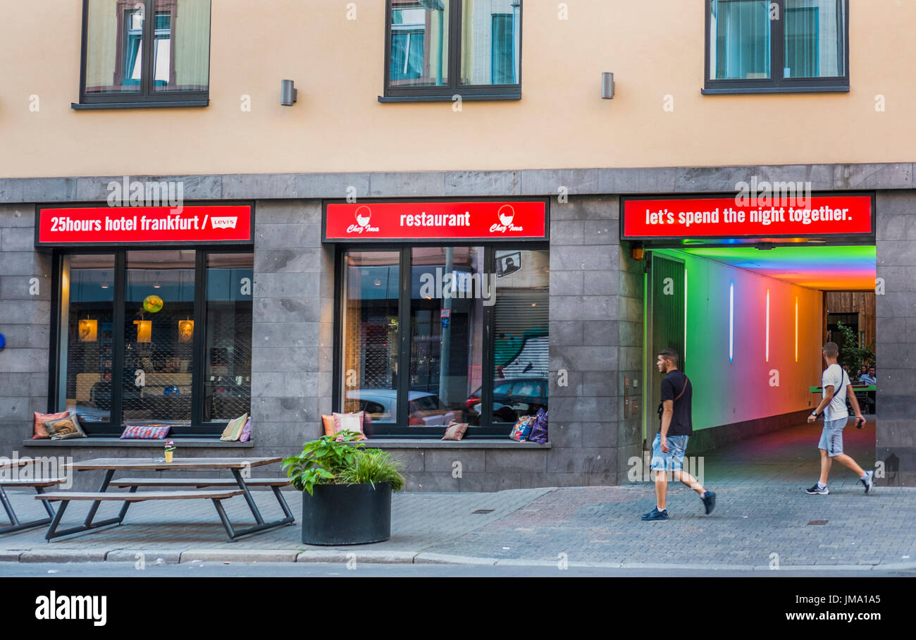 street scene in front of 25 hours hotel by levi´s, niddastrasse, frankfurt am main, hesse, germany Stock Photo