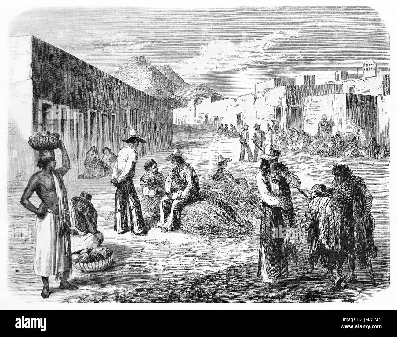 Old illustration of Mexican people in Chihuahua market. Created by Fouduier and Gauchard, published on Le Tour du Monde, Paris, 1861 - Stock Image