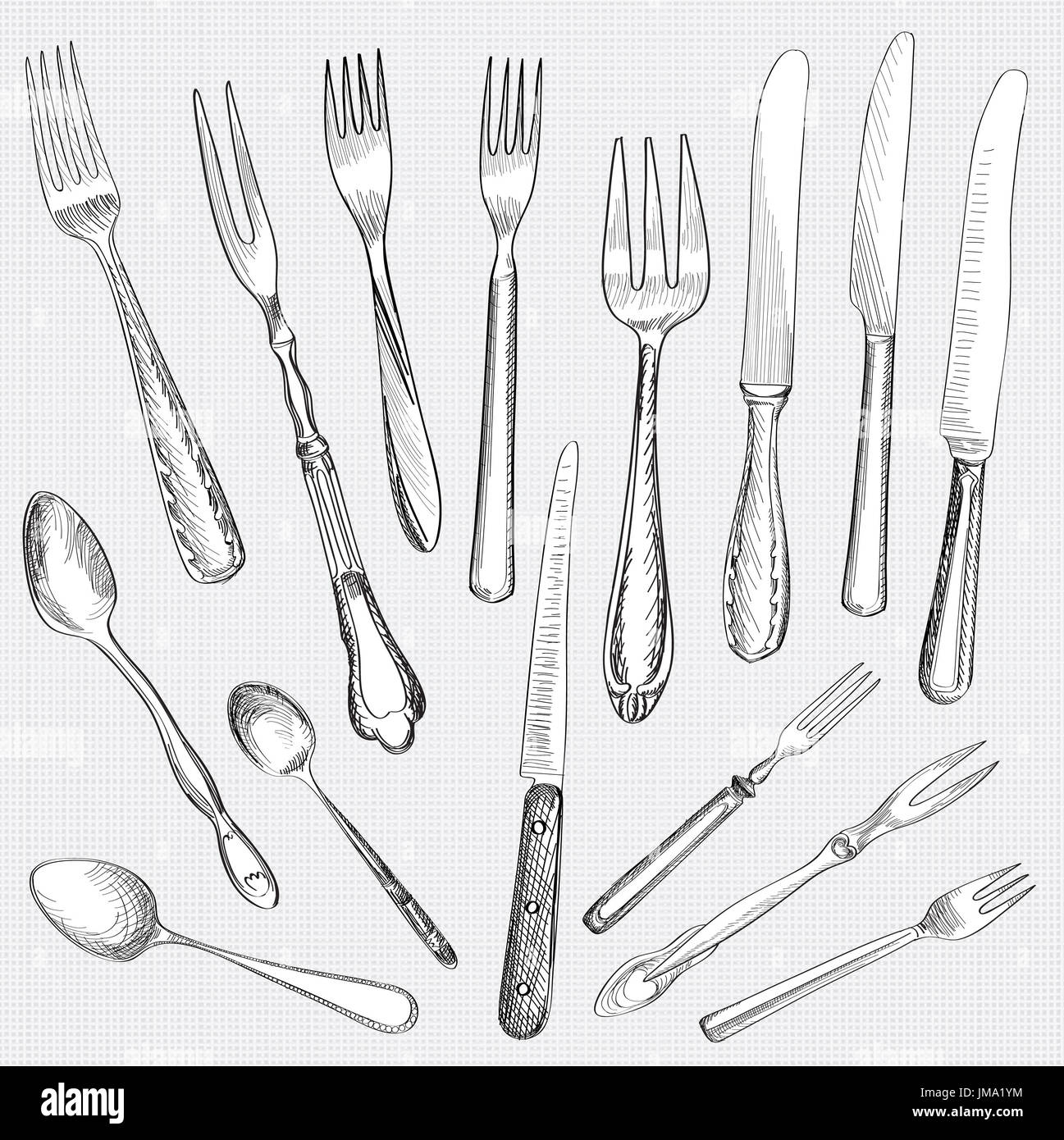 Table setting set. Fork Knife Spoon sketch set. Cutlery hand drawing collection. Catering engraved vector illustration. Restaurant service. Banquet  sc 1 st  Alamy & Table setting set. Fork Knife Spoon sketch set. Cutlery hand Stock ...
