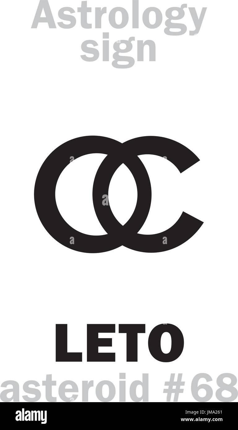 Astrology Alphabet: LETO (Latona), asteroid #68. Hieroglyphics character sign (single symbol). - Stock Vector