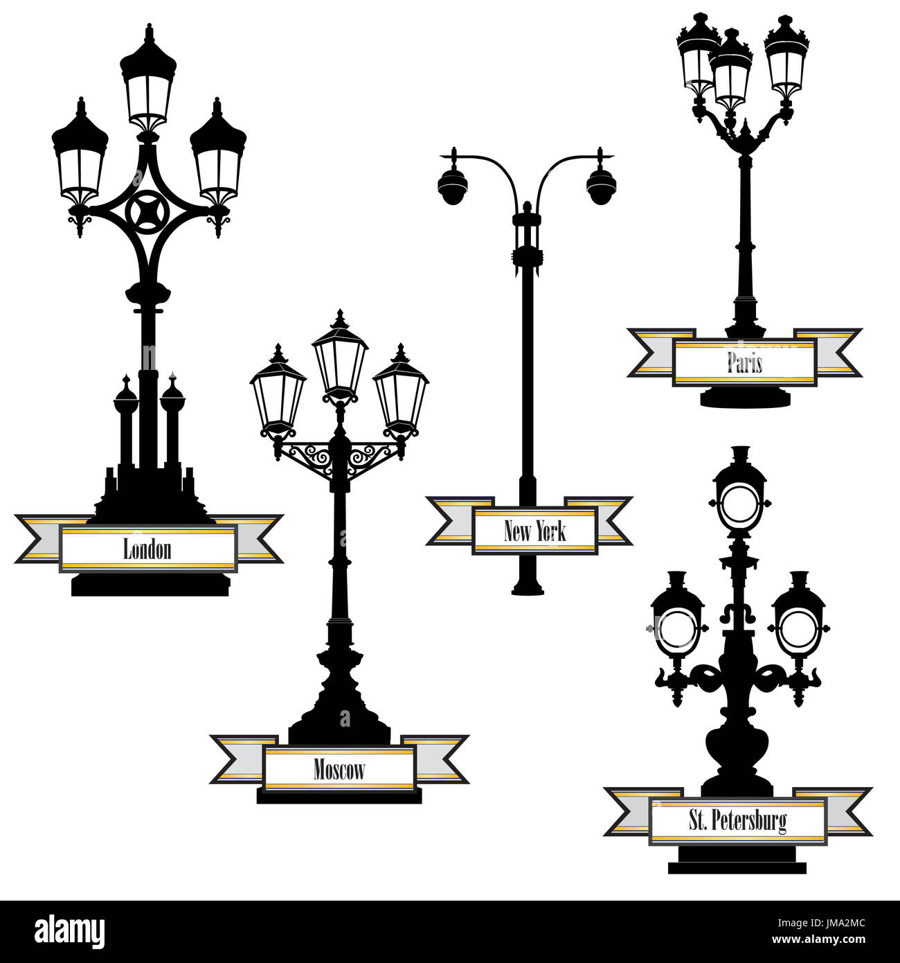 Street lamp label set. Street lights of London, PAris, New-York, Moscow, St Petersburg retro collection. Travel the world icon set. - Stock Image