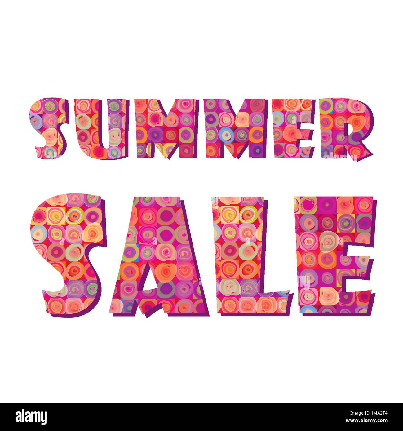 Summer sale sign illustration design over white - Stock Image