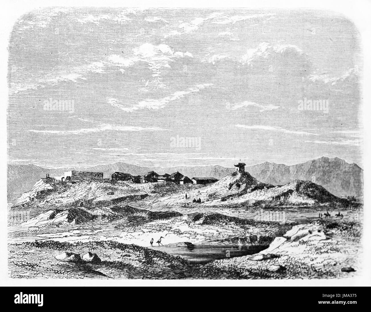 Old view of Khorsabad (formerly Dur-Sharrukin: Fortess of Sargon), Antique Assyrian capital, North Iraq. Created by Flandin, published on Le Tour du M - Stock Image
