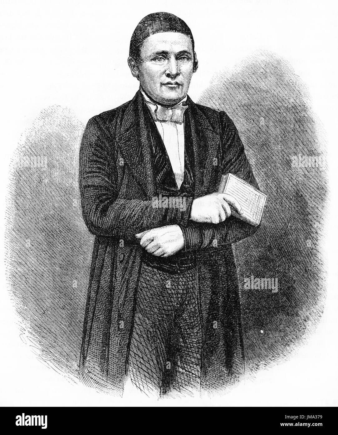 Old engraved portrait of Johann Ludwig Krapf (1810 - 1881), German missionary, explorer, traveker and linguist. Created by Hadamard and Trichon, publi - Stock Image